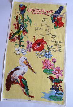 Queensland Australia vintage tea towel, $7.50 AUD from Fox & Thomas