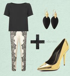desk to dinner look for an apple shape. Wear a black blouse and printed pants for work. Wear small earrings as well. For evening add gold metallic pumps!