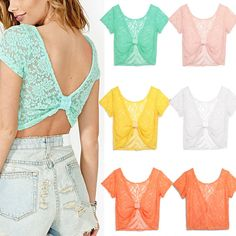 Fashion Womens Sexy Summer Casual Lace Crochet Tops Tank Backless Shirt Blouse | eBay