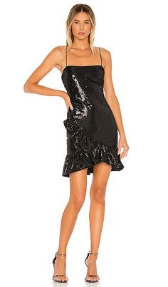 Likely Lilia Ruffled Sequin-embellished Mini Dress In Black Slit Dress, Buy Dress, Bodycon Dress, Sequin Mini Dress, Embellished Dress, Deep V Dress, Gowns With Sleeves, Holiday Dresses, Ladies Dress Design