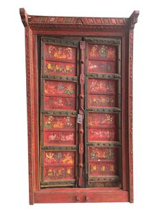 18c Antique Indian Temple Doors Red colorful hand painted Rustic Farmhouse Furniture, Antique Furniture, Door Coffee Tables, Rustic Cabinets, Antique Doors, Meditation Space, Holiday Deals, Flea Market Finds, Garden Statues