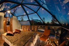 If you want to enjoy the charming sight of the stars and the sky while you gently fall asleep, then such like beautiful bedroom designs would fit you best. The design is found at the Kakslauttanen Hotel in Finland and it features dome-shaped ceiling with Beautiful Bedroom Designs, Beautiful Bedrooms, Igloo Village, Luminaire Original, Unusual Hotels, Sleeping Loft, Earthship, Awesome Bedrooms, Home Interior