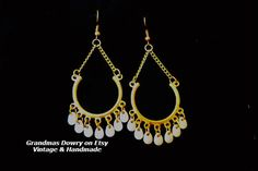 Gypsy Chain Gold Earrings with White Beads Long by GrandmasDowry