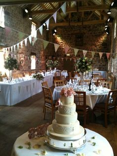 One of our hired designs 'Vintage Rose Garden' bunting looking gorgeous at The Ashes, Endon.  We adore the bunting added to the top table!! #bunting #wedding bunting