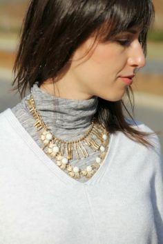 Layering necklaces with my @J.Crew tissue tee and @Old Navy sweater.