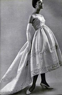 Evening gown of pink faille with gold embroidered trim by Balenciaga, L'Officiel 1958