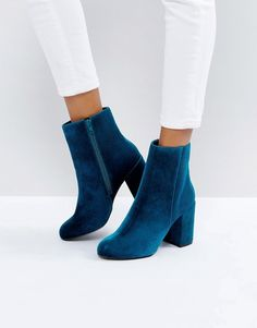 New Look Teal Velvet Ankle Boot