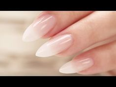 French Fade / Baby Boomer Almond Acrylic Nails - Three Color Fade - http://www.nailtech6.com/french-fade-baby-boomer-almond-acrylic-nails-three-color-fade/