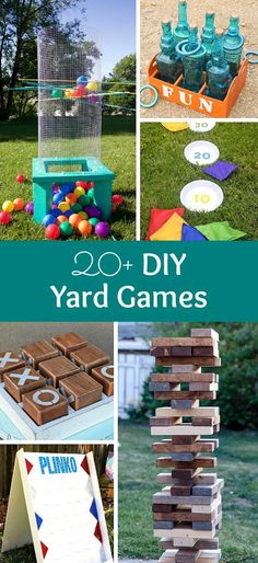 20+ DIY Yard Games that are perfect for summer entertaining! These awesome lawn games for adults and kids - like cornhole, giant Jenga, Yardzee, tic tac toe + more - are perfect for backyards, camping trips, and family fun. Learn how to make DIY yard game