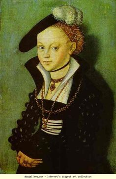Lucas Cranach the Elder. Portrait of Christiana Eulenau. 1534. Oil on wood. Alte Meister Gallerie, Dresden, Germany.