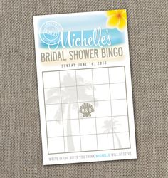 Beach Theme Bridal Shower. Bridal Shower Bingo Card. DIY