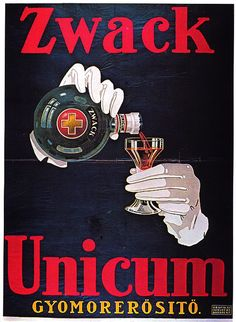 Advertising poster for Hungarian liquer (or is it a stomach tonic?); date/ artist unknown.