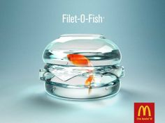 This Mcdonalds advert uses the advertising element of copy. The image in this ad shows the main ingredient used to make a Fillet-O-Fish from the Mcdonalds Menu. Ads Creative, Creative Advertising, Advertising Design, Creative Ideas, Advertising Poster, Advertising Campaign, Marketing And Advertising, Food Advertising, Marketing Ideas