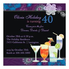 Tropical Cocktails 40th Birthday Party Invitation