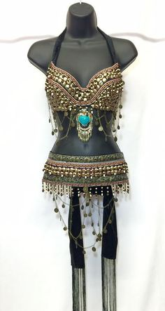 RaveWonderland  Rave wonderland Beautifully made tribal bra top+ Belt. All Tassels And beads are sown on. Set comes in: M/L Bra 34-36 B/C Tie