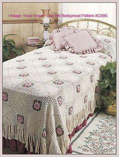 """Colcha Crochê Antigos 1954 Padrão """"rose"""" Bower   eBay!"""