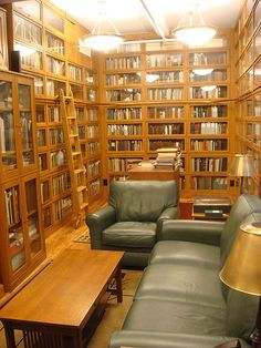 Floor-to-ceiling barrister bookcases, stuffed with books. I could live in this room.