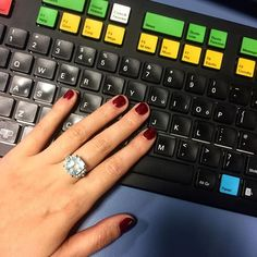 Gorgeous sparkly red mani and getting my grandmothers ring out for Friday  #beautiful #manicure #mani #nails #red #ring #aquamarine #diamond #jewelry #jewelrydesign #gorgeous #sparkle #shinebrightlikeadiamond #happyfriday