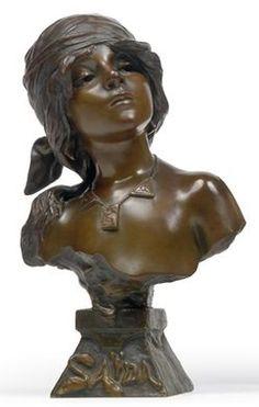 Um 1900 Antike Originale Vor 1945 Alte Bronzefigur Büste Eglantine 48 Cm