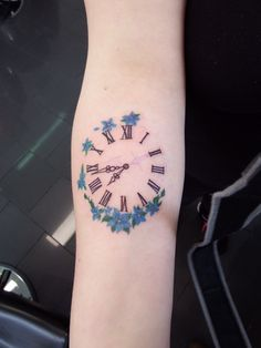 Clock tattoo set to the time my son was born! Dave's Tattoo in Kaiserslautern, Germany. Artist- Bert.