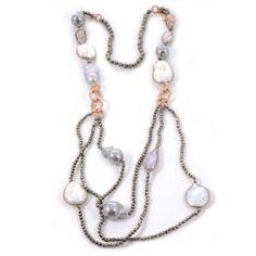 Collar largo piritas perlas blancas grises plata