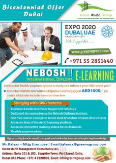 Green World management is provided special Bicentennial offer for Nebosh International Diploma courses only AED 1000/-per month in Dubai. For more details: http://blog.greenwgroup.com/gwg-offer-for-nebosh-idiploma-e-learning-course.html
