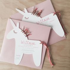 The SWEETEST unicorn invitations going around! Each invite is printed with your childs name and party information and has lovely eye lashes cut out...