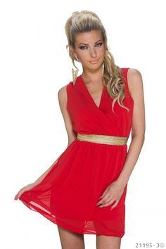 ef103fff1e814a Sexy kleding. Clubwear. Rood jurkje met gouden ceintuur en kanten effect