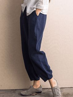 VintageElastic Waist Pure Color Pocket Pants For Women US$19.99