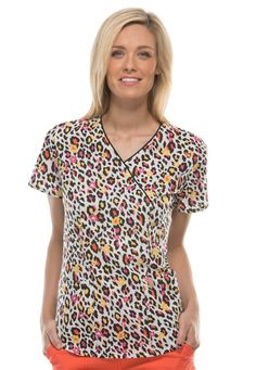 Code Happy Wild Cheetah Crossover Print Scrub Tops With Certainty Vet Scrubs, Dental Assistant, Scrub Tops, V Neck Tops, Everyday Fashion, Work Wear, My Style, Stylish, How To Wear