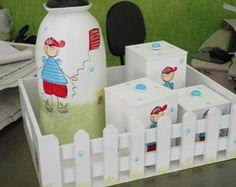 kit higiene bebê madeira menino