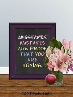 Mistakes are Proof - Teacher Gift - Classroom Rules - Gifts for Teacher - Christmas Teacher Gift - Classroom Decor- Chalkboard Art
