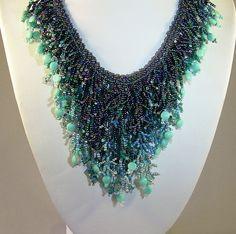 Marsha Ray Necklace - Handmade OOAK Beaded Fringe Collar - Crashing Waves