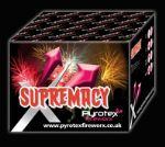 NEW from Pyrotex Fireworx. Domination will reign when you light this mighty barrage. Effects include:Red tail to green palm tree, Green tail to red palm tree + silver strobe, Silver tail to silver palm tree +crackling. To view the firework videos or to buy fireworks online visit http://www.pyrotexfireworx.co.uk/buyfireworks/Supremacy