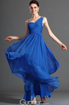 one shoulder crystal embellished long blue chiffon prom dress