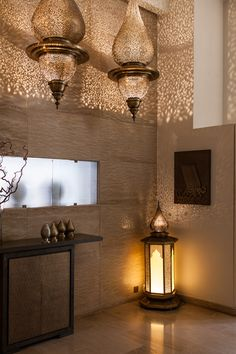 #TheJewelleryEditorLoves how the light patterns on these walls are reflected by these eastern-style lanterns. #gold