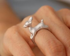 Rein Deer Ring, Bambi nature ring, jewelry, gift, Simple cute ring, fashion ring, bridesmaid ring, band, stack ring, Twig ring by GiftMadeWithLuv on Etsy