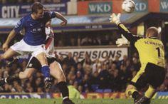 1 January 2003 Tomasz Radzinski heads home a dramatic injury time equaliser against Man City