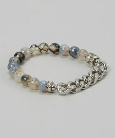 This White & Blue Simple Joys Stretch Bracelet is perfect! #zulilyfinds