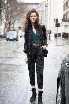 blouse, pants, boots, jacket