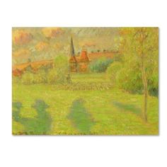 Trademark Fine Art 'The Shepherd and the Church of Eragny' Canvas Art by Camille Pissarro, Green