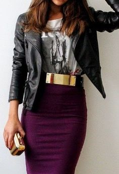 burgundy skirt + jacket + tee= modern rock chick