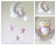 Baby mobile Mobile moon Elephant mobile Crib by lovefeltmobiles