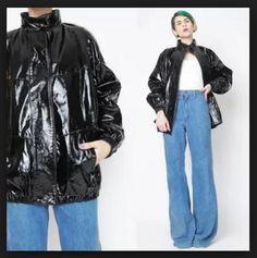 7da4c16263900 New to honeymoonmuse on Etsy  Vintage PVC Vinyl Jacket Shiny Black Patent  Leather Jacket Black Bomber Jacket Cyber Goth Club Kid Slick Slouchy Unisex  Coat ...