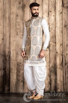 Buy Mangaldeep Off White Silk Indo Western Sherwani online in India at best price.p Awesome Cream coloured Silk fabric kameez designed with thread work and fancy button. Wedding Dresses Men Indian, Wedding Dress Men, Indian Dresses, Indian Outfits, Western Dresses, Wedding Outfits, Indian Weddings, Wedding Couples, Wedding Ideas