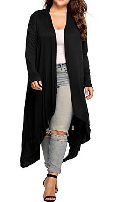 Women's Plus Size Long Sleeve Waterfall Asymmetric Drape Open Front Long Maxi Cardigan Sweater L-5XL -- Click on the image for additional details.(It is Amazon affiliate link) #c4c