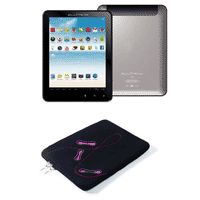 "Tablet Microboard Ellite Aluminium Premium 8"", Android 4.0, Processador Boxchip A10, Wifi, 8GB, 512 Memória, USB, HDMI, MicroSD Prata + Case para Notebook Fantasy Alfa 10"" Reliza Preto / Rosa / Strass"