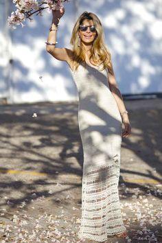 Vestido-Trico-Seventies-Off-White | Galeria Tricot - Galeria Tricot