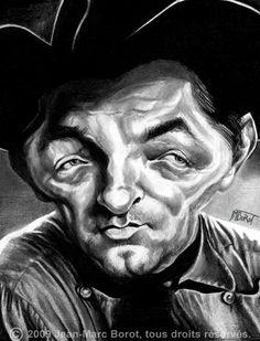 "Robert Mitchum Caricature sketch of Hollywood Legend Robert Mitchum, in ""Eldorado"" -"