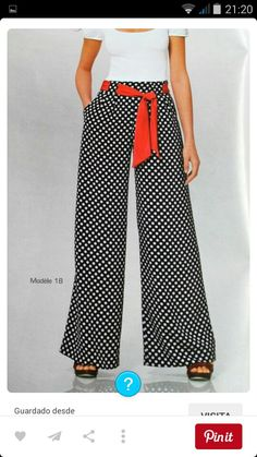 If you wanted a way to stand out this would do it. Definitely with some red heels, a red ring and red earrings to top it off. A nice polka headscarf too with hair up! Fashion Pants, Hijab Fashion, Fashion Outfits, Womens Fashion, Casual Wear, Casual Outfits, Cute Outfits, Sewing Pants, Pants Pattern